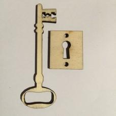 Chiave e serratura in legno